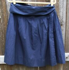 TOMMY HILFIGER SOLID NAVY BLUE CASUAL COTTON A LINE WRAP KNEE SKIRT 14 16 NEW