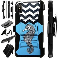 Lux-Guard For iPhone 6/7/8 PLUS/X/XR/XS Max Phone Case Cover SEAHORSE CHEVRON