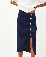 Zara Navy Blue Draped Midi Skirt Size L UK 12