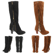 Women's Retro Suede Leather Heels Knee High Boots Fold Shoes With Lace Tassels