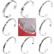 Fashion Family Engraved Cuff Bracelet Bangle Silver Women Lady Jewellery Gifts