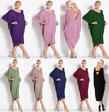Women Crew Neck Long Sleeve Backless Batwing Cocktail Partywear Baggy Midi Dress