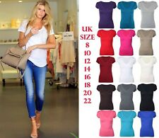 Womens Stretch Fitted Deep V Neck Tee T-Shirt Plus Size Short Cap Sleeve Top