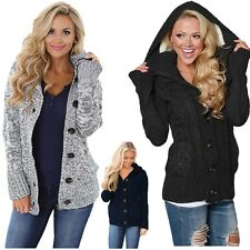 Women's Grey Long Sleeve Button-up Hooded Cable Knit Cardigan Regular Plus Size
