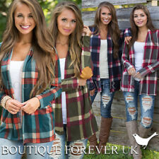 UK Womens Plaid Long Sleeve Cardigan Ladies Checked Shirt Blazer Size 6 - 16