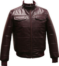 Mens Real Leather Casual Bomber Jacket Classic Quilted Puffer Cafe Racer