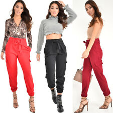 New Womens Ladies Paper Bag Belted Cuffed Cargo Trousers Pants Size UK 8-14