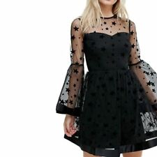 Women Black Color Lace Decorated Long Sleeve Mesh Backless Mini Dress