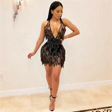 Women Tassel Hollow Out Halter Neck Sleeveless Sequined Party Dress