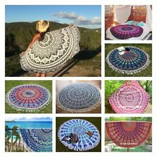 Indian Mandala Tapestry Wall hanging Round Bohemian Throw Cover Frills Table UK
