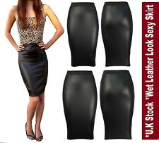 WOMENS WET LOOK FAUX LEATHER PENCIL WOMENS BODYCON HIGH WAISTED MIDI SKIRT-wtmdL