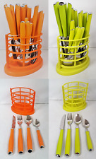 24 Piece Coloured Plastic Handle Stainless Steel Cutlery Dining Set Orange Green