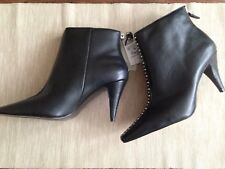 Zara Black High Heel Leather Ankle Boots With Studs Size UK 4, UK 5