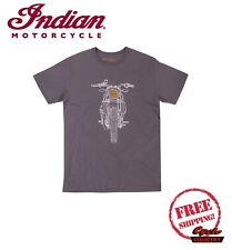 GENUINE INDIAN MOTORCYCLE BRAND COTTON T-SHIRT TEE FTR 1200 HEADLIGHT GRAY NEW