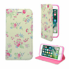FOR APPLE IPHONE 7/8 WHITE LT BLUE PINK FLOWER PU LEATHER WALLET COVER CASE