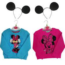 CHILDS MINNIE MOUSE SWEATSHRT BLUE OR PINK MOUSE HEADBAND TV FILM FANCY DRESS