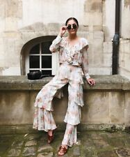 Zara Nude Floral Printed Trousers With Frills & Top Co-Ord Set Size M