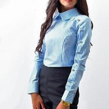 Women Turn Down Collar Long Striped Print White Color Button Casual Blouse Shirt