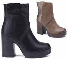WOMENS LADIES CHELSEA PLATFORM MID HIGH CHUNKY BLOCK HEEL ANKLE BOOTS SHOES