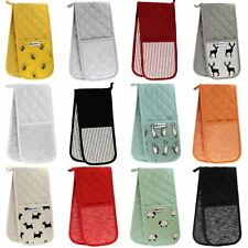 Double Oven Gloves 100% Heat Resistant Cotton Padded Oven Mitts