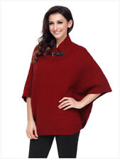 Women' Elegant High Neck Waffle Knit Poncho Solid Pullover Sweater Chunky Blouse