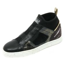 B9414 sneaker donna HOGAN REBEL R182 scarpa mid cut elastici nero/oro shoe woman