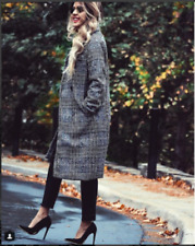 ZARA BLOGGERS GREY LAPEL COLLAR CHECKED DOUBLE BREASTED LONG WOOL BLAZER COAT
