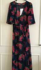 Zara Floral Printed Long Tunic Wrap Kimono Dress Size S UK 8