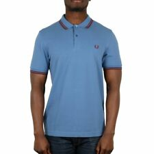 Fred Perry Twin Tipped Polo Shirt - School Blue / Red