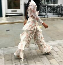 Zara Nude Floral Printed Trousers With Frills Size XS, S, M, L