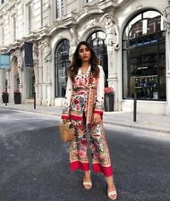 Zara Floral Printed Blazer With Belt & Culottes Trousers Co-ord Set Size S, M