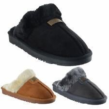 Womens Ladies Faux Fur Lined Slip On Warm Winter Comfy Mules Slippers Shoes Size
