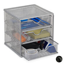 Large Metal Mesh Desk Organizer, Stationery Sorter with Drawers, Office Tray