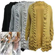 Womens Ladies Bobble Knit Longline Open Front Long Sleeve Cape Poncho Cardigan