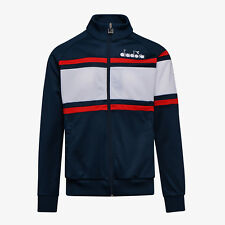 DIADORA MENS 80'S TRACK JACKET TRACK TOP IN BLUE OPTICAL WHITE, BNWT, RRP £65