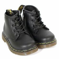Dr Martens Infant's Leather Lace Up / Zip Boot Black Softy