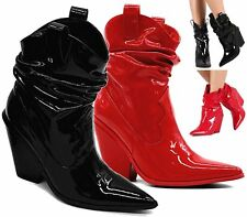 WOMENS SLOUCH PULL ON COWBOY POINTY FASHION ANKLE BOOTS HIGH BLOCK HEEL SHOES