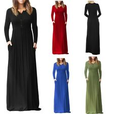 Women's Floor Length Long Sleeve Button Down Casual Plus Size Jersey Maxi Dress