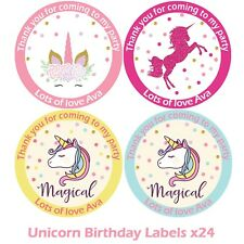 Personalised Unicorn Birthday Stickers For Party Thank You Sweet Cone Bags