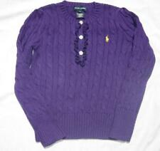 RALPH LAUREN girls purple cable knit pullover cotton jumper sweater polo NEW