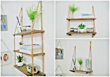 Vintage Tiered Hanging Wall Shelf Rustic Wooden Storage Rope Shelf Display Unit