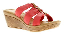 Heavenly Feet Sugar Womens Ladies Leather Wedge Sandals Red UK Size