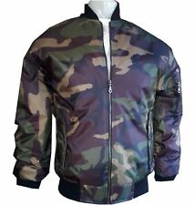 MA1 ARMY CAMOUFLAGE PILOT FLYING MILITARY BOMBER MOD BIKER JACKET COAT MOTOWN  M