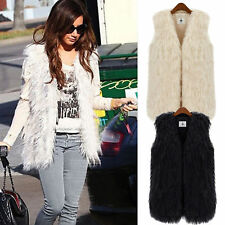 Womens Sleeveless Faux Fur Vest Waistcoat Warm Winter Outwear Jacket Coat Gilet