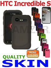 AMZER Silicone Jelly Skin Gel Case Cover & Screen Protector For HTC Incredible S