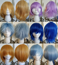 [Us Seller] COSPLAY WIGS ANIME COSTUME BLUE BLONDE PURPLE SHORT CRONA REI ARMIN