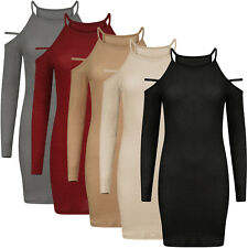 Women High Neck Strappy Dress Ladies Ribbed Glitter Long Sleeve Mini Dress Party