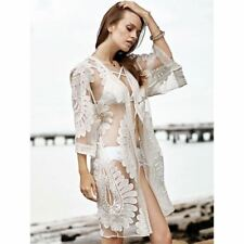 Women Floral Embroidery Lace Mesh Three Quarter Sleeve V Neck Loose Dress