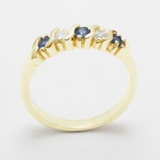Solid 9ct Yellow Gold Natural Sapphire & CZ Womens Eternity Ring - Sizes J to Z