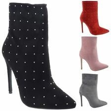 Ladies Womens High Stiletto Heel Studded Party Evening Ankle Boots Shoes Size